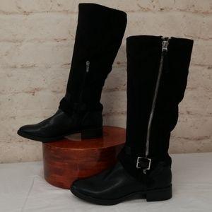 Boots Sam Edelman Black Side Zip silver buckle 9